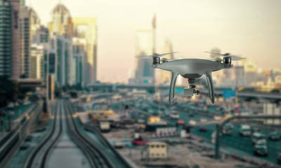 Drone quad copter recorded traffic in city.