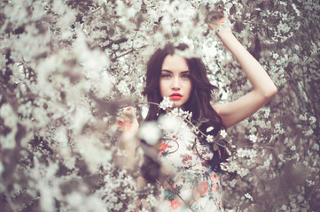 Beautiful young lady in the garden of cherry blossoms