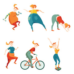 Set of vector illustrations in cartoon style, be active to lose weight