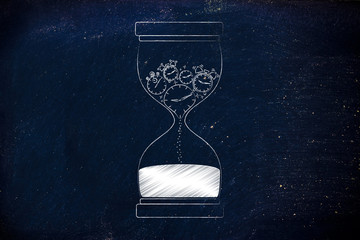 hourglass with melting clocks & stopwatches