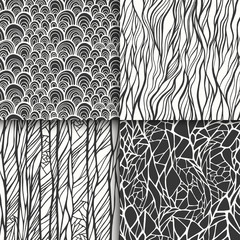 Abstract black and white seamless patterns set
