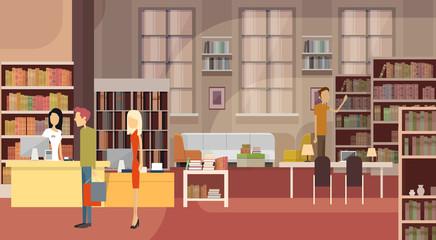 Book Shop Interior Bookstore Customers Sales Woman Cash Desk