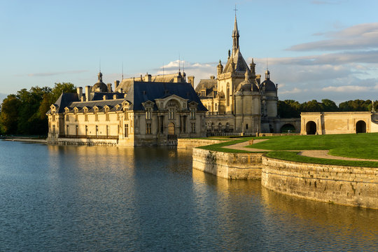 Sunset view of beautiful Chantilly castle