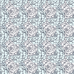 Seamless pattern with decorative hand drawn roses