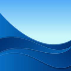 Abstract smooth curve lines background advertising banner. Vector illustration on a blue background.
