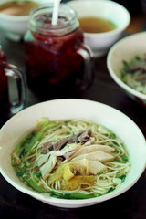 Chinese vermicelli soup with chicken recipe.