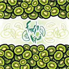 Vector illustration of fresh kiwi seamless border strip with lettering logo for your design.