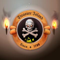 Vintage nautical label or logo.Treasure island and pirate flag illustration