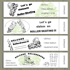 set hand drawn tickets on Rollerdrom with Roller Skate and equip