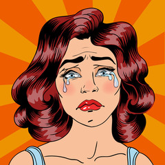 Woman Crying. Exhausted Woman. Woman in depression. Pop Art Banner