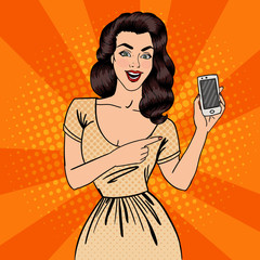 Girl with Smartphone. Beautiful Woman Showing New Smartphone. Pop Art