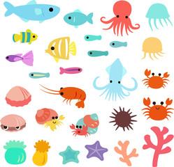 海の生き物のポップイラストセット