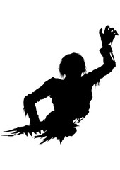 Half zombie men silhouette. Illustration half part of the rotten zombie's body. He stretches his hand forward