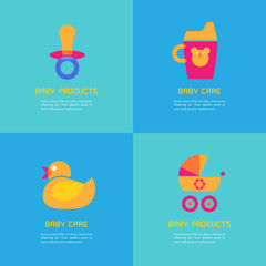 Set of vector illustrations of rubber duck, soother, sippy cup, carriage