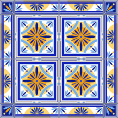 Vector moroccan tiles set with border. Tiles for bathroom, kitchen, patio. Old traditional vintage style. Interior design element, outdoor decoration