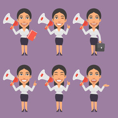 Businesswoman Holds Megaphone in Different Versions
