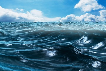 Composite image of blue rough ocean