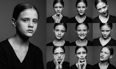 collage of emotional portraits of young girls