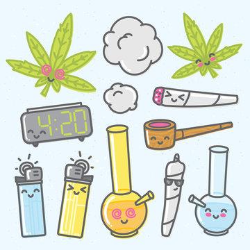 Marijuana kawaii cartoon vector objects pack