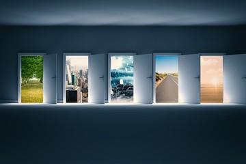 Composite image of digital image of open doors