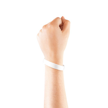 Blank white rubber wristband mockup on hand, isolated