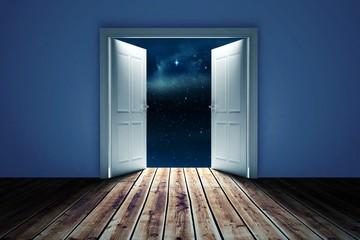 Composite image of door opening in dark room to show sky