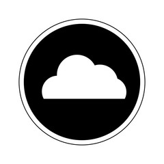 Cloud computing icon in black and white color isolated on white background