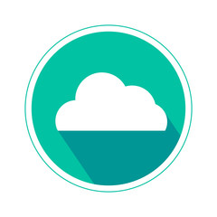 Cloud computing icon in cyan color isolated on white background