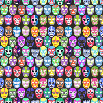Luchador or fighter mask set. Seamless pattern with hand-drawn lucha libre - free fight - masks - helmets on the white background. Real watercolor drawing.