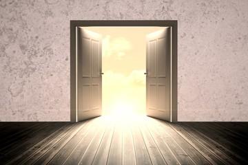 Composite image of open big door on wall