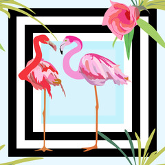 Drawing a pair of red and pink flamingos, a striped background with flowers seamless pattern, fashion design