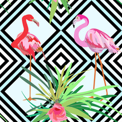 Drawing a pair of red and pink flamingos, a striped background with flowers seamless pattern
