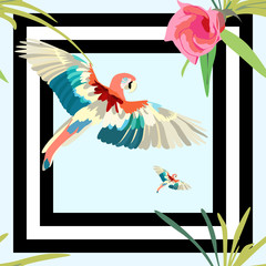 Parrot,  a striped background with flowers seamless pattern, fashion design