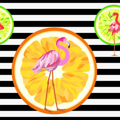 Abstract illustration of a flamingo on a striped background with oranges, fashion design, seamless pattern