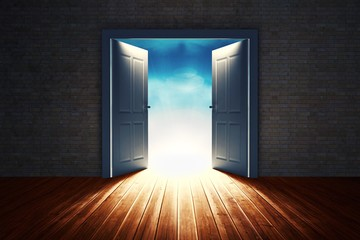 Composite image of open big door on wall