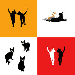 Logos: cats pair (white, black) and small black cats in the isolation of a white background, red and yellow background