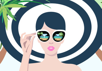 Abstract portrait of a girl on the beach under palm trees, a striped hat and bathing suit, sunglasses, leisure and tourism, fashion summer