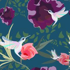 Hummingbirds fly in a flower garden, seamless pattern, fashion design print