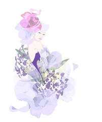 Abstract watercolor portrait of a model (girl) , hat-shaped pink roses, lilac flower dress , beauty logo , isolated white background