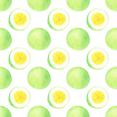 Passion fruit or maracuya. Seamless pattern with fruits  - passionfruit.  Real watercolor drawing.