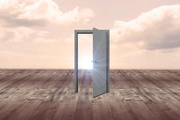 Composite image of open door