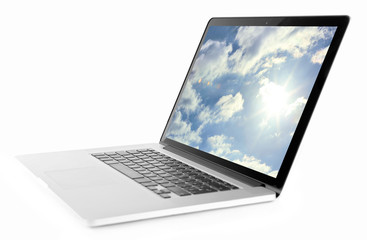 Laptop isolated on white. Cloud storage concept