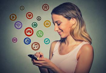 portrait woman using app on a smart phone