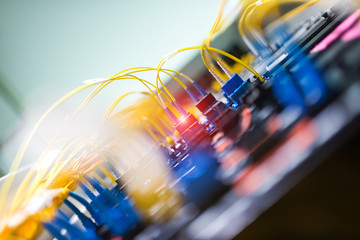 fiber optic with servers in a technology data center