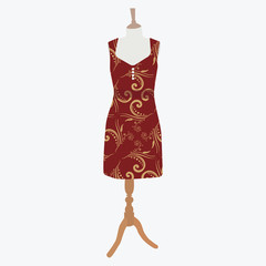 Vector illustration elegant cocktail, evening woman dresses on mannequin for boutique. Red, bordo dress with  pattern