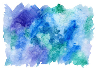 Blue and turquoise blot.Watercolor background.Abstract texture watercolor hand drawn illustration.Blue splash and wet bubble.