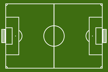 Template realistic football field with lines and gates. vector i