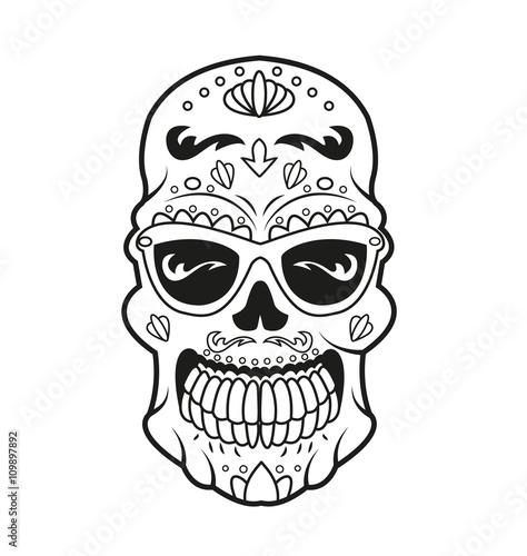 Mexican Skull Vector For Coloring Teschio Messicano Vettoriale Da