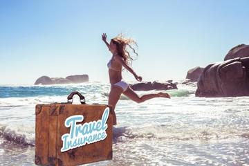 Composite image of beautiful smiling woman in white bikini skipp