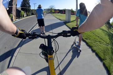 Riding Bike in Park with Kids POV Fisheye